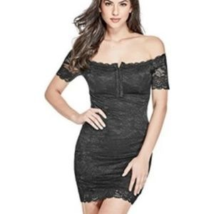 GUESS Reina Off-the-Shoulder Lace Dress Black XS